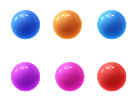 Realistic modern vector set of colorful shiny glossy plastic balls with glare reflections and shadows isolated on a white background.