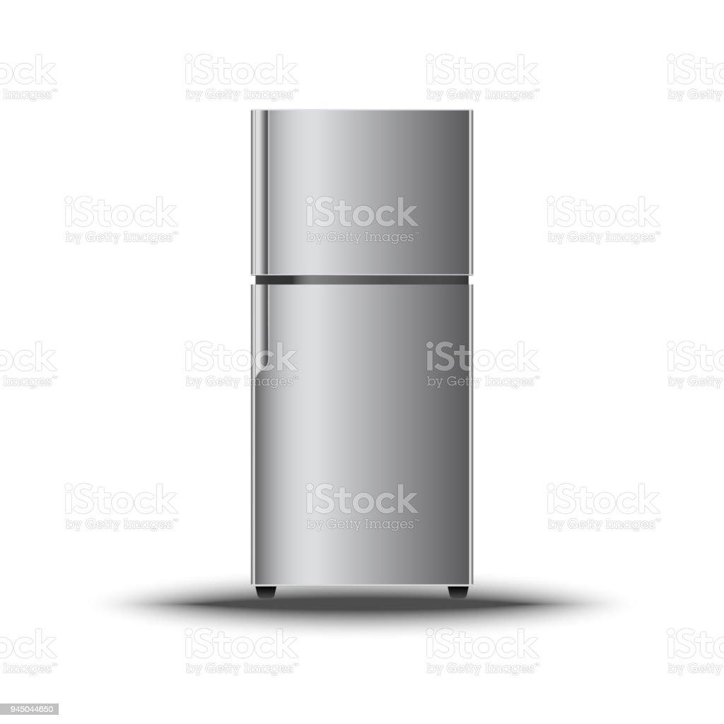 Realistische Moderne Vertikale Kühlschrank Auf Isolieren Weißen ...
