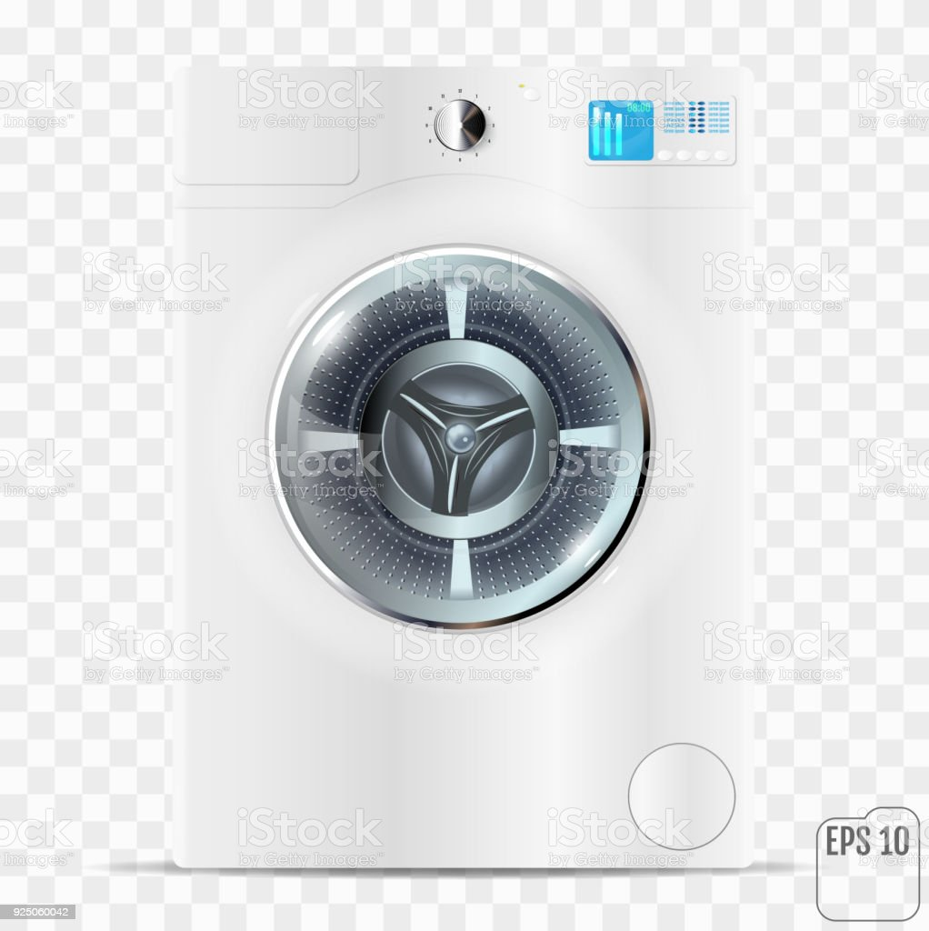 Moderne Waschmaschine realistische moderne waschmaschine isoliert auf dem transparenten