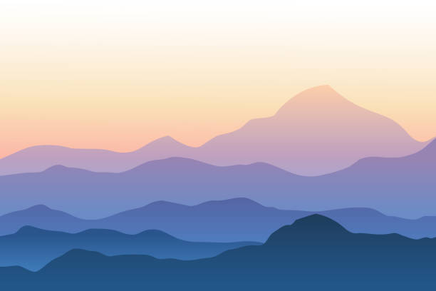 Realistic mountain landscape vector illustration Silhouettes of mountains against sunset sky mountains in mist stock illustrations