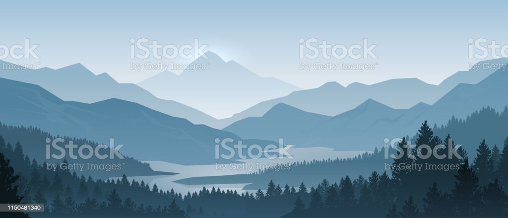 Realistic mountains landscape. Morning wood panorama, pine trees and mountains silhouettes. Vector forest background - Royalty-free Abaixo arte vetorial
