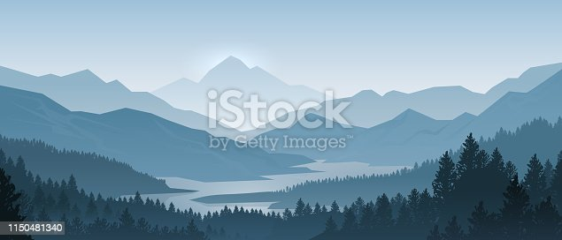 istock Realistic mountains landscape. Morning wood panorama, pine trees and mountains silhouettes. Vector forest background 1150481340