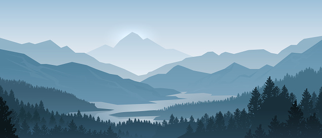 Realistic mountains landscape. Morning wood panorama, pine trees and mountains silhouettes. Vector forest background clipart