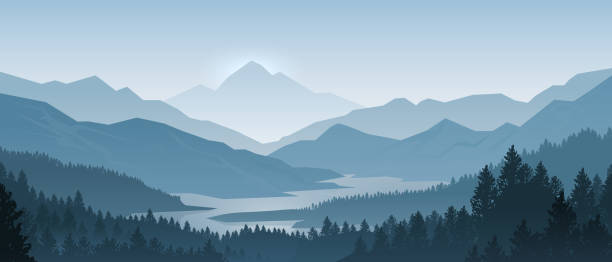 Realistic mountains landscape. Morning wood panorama, pine trees and mountains silhouettes. Vector forest background Realistic mountains landscape. Morning wood panorama, pine trees and mountains silhouettes. Vector forest hiking background woodland stock illustrations