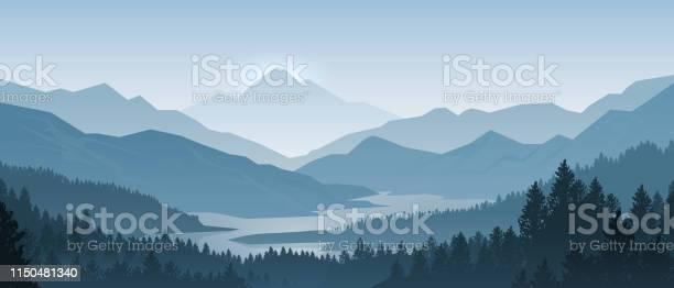 Realistic Mountains Landscape Morning Wood Panorama Pine Trees And Mountains Silhouettes Vector Forest Background - Arte vetorial de stock e mais imagens de Abaixo