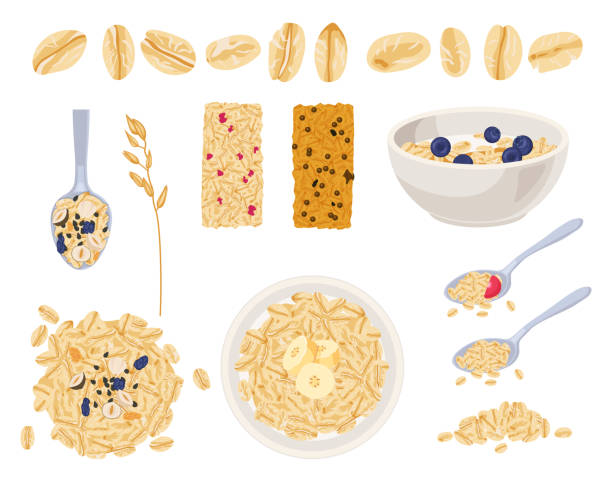 ilustrações de stock, clip art, desenhos animados e ícones de realistic muesli on transparent background set with isolated images of cereals spreading and bars with text vector illustration fruits - granola