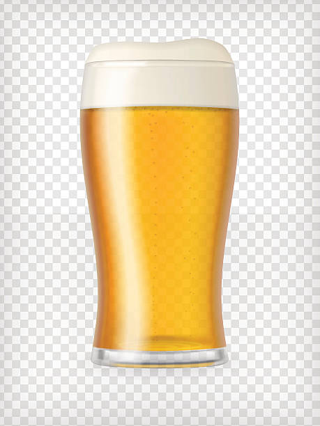 Realistic Mug with Beer Realistic beer glass. Mug with light beer and bubbles. Graphic design element for a brewery ad, beer garden poster, flyers and printables. Transparent vector illustration. beer glass stock illustrations