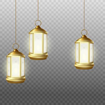 Realistic Muslim Mubarak holdiday lantern lamps hanging from above