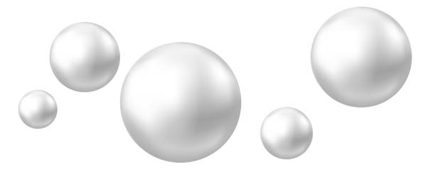 Realistic natural pearl isolated on white background. Realistic natural pearl. Jewel gems. Shiny silver ball isolated on white background. Vector jewelry sphere. sphere stock illustrations