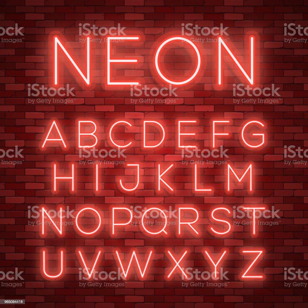 Realistic neon alphabet. Bright neon glowing font realistic neon alphabet bright neon glowing font - stockowe grafiki wektorowe i więcej obrazów abstrakcja royalty-free