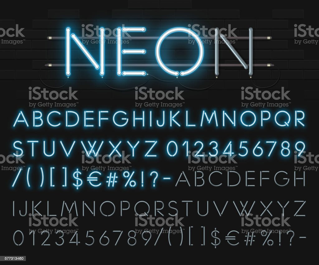 Realistic neon alphabet on a background of black brick wall. vector art illustration