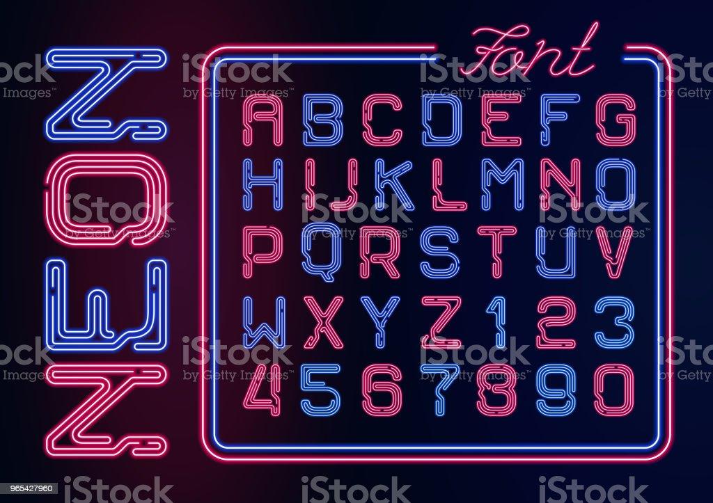 현실적인 네온 네온 숫자 알파벳입니다. 어두운 배경에서 활자는 벡터 네온 디자인에 대 한 빛나는 폰트입니다. - 로열티 프리 0명 벡터 아트