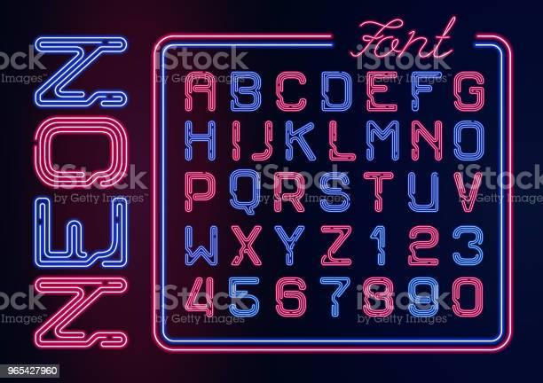 현실적인 네온 네온 숫자 알파벳입니다 어두운 배경에서 활자는 벡터 네온 디자인에 대 한 빛나는 폰트입니다 0명에 대한 스톡 벡터 아트 및 기타 이미지