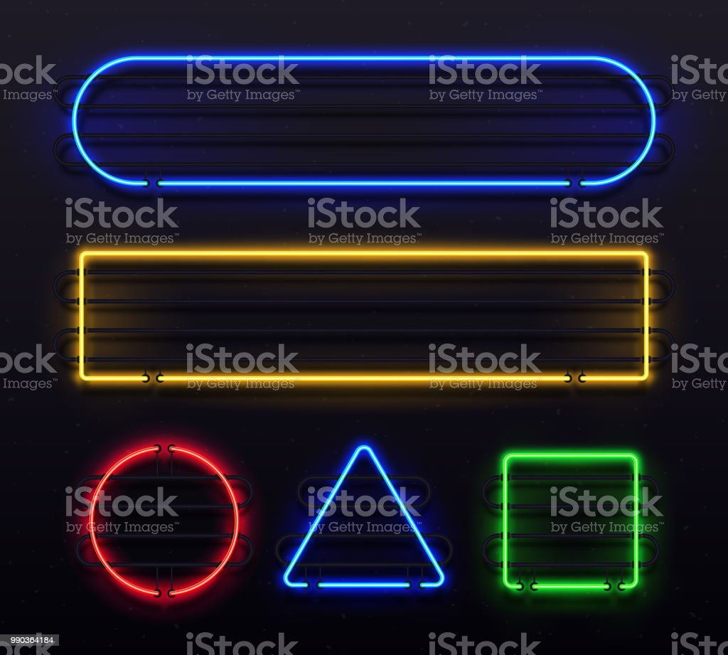 50325fd485 Realistic neon frame. Shiny banner with electric border glow and light  vintage bar illuminated frames