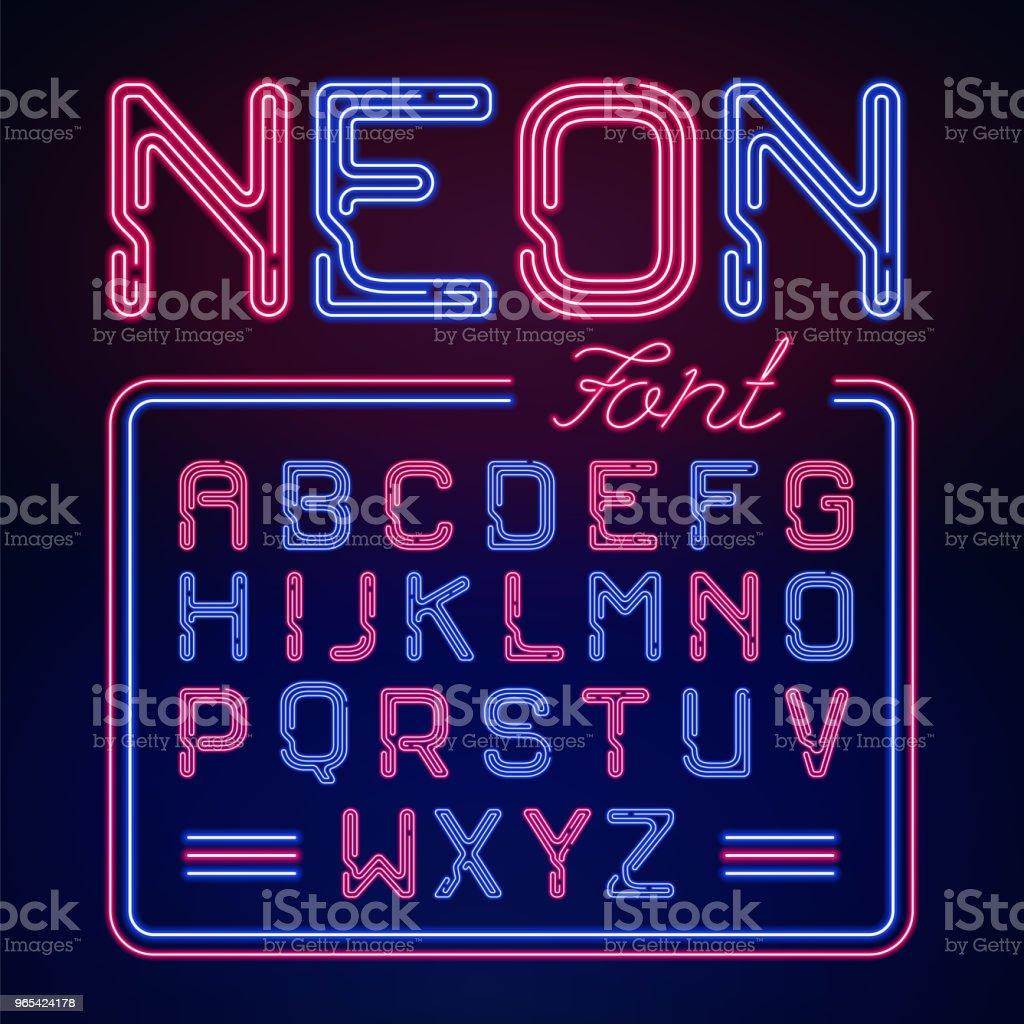 Alphabet de lueur néon réaliste. Vector Neon typeset sur fond sombre.  Rougeoyante de polices pour votre conception. - clipart vectoriel de Abstrait libre de droits