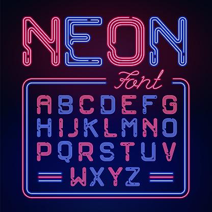 현실적인 네온 발광 알파벳입니다 어두운 배경에서 활자는 벡터 네온 디자인에 대 한 빛나는 폰트입니다 0명에 대한 스톡 벡터 아트 및 기타 이미지