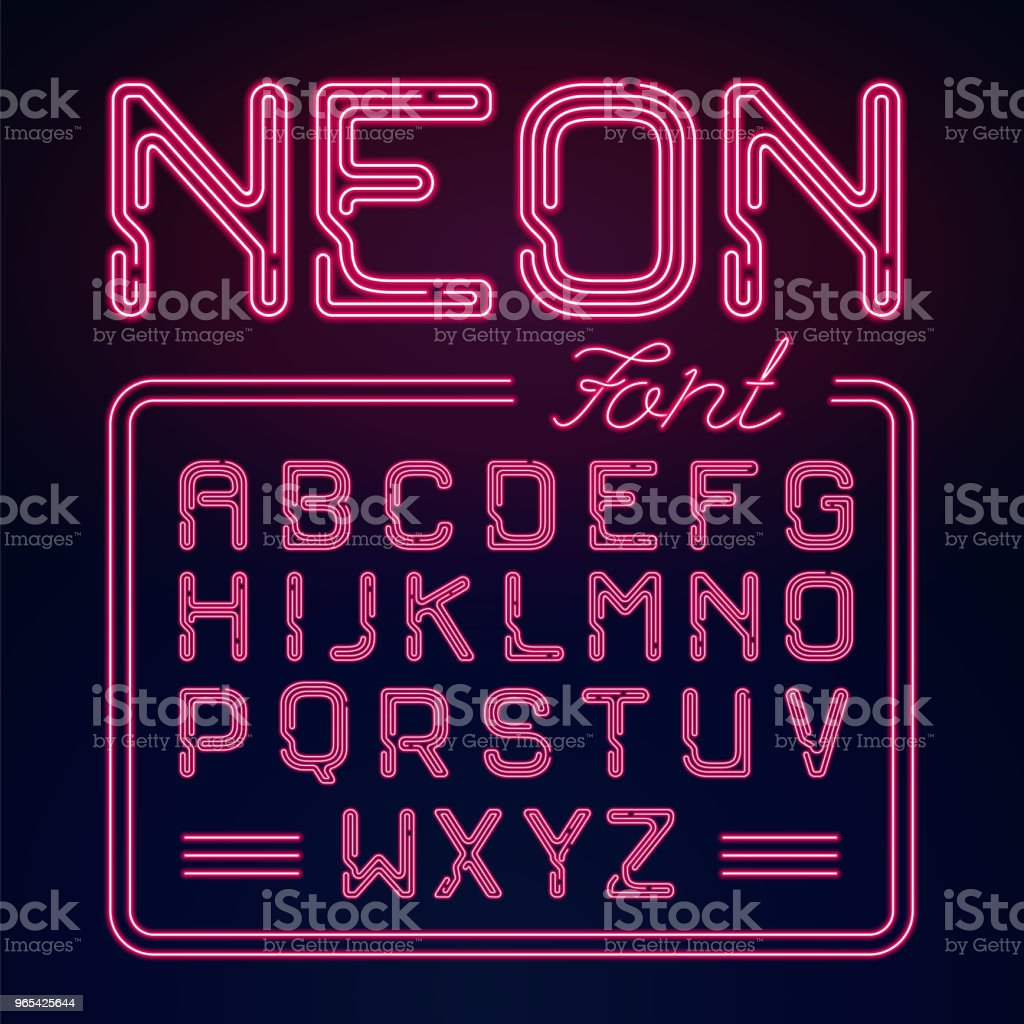 Realistic Neon glow alphabet. Vector Neon typeset on dark background.  Glowing font for your design. royalty-free realistic neon glow alphabet vector neon typeset on dark background glowing font for your design stock vector art & more images of abstract