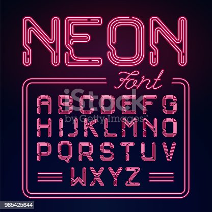 Realistic Neon Glow Alphabet Vector Neon Typeset On Dark Background Glowing Font For Your Design Stock Vector Art & More Images of Abstract 965425644