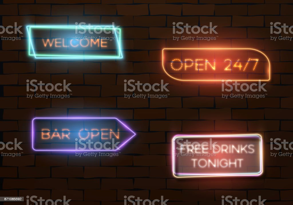 Realistic Neon Quote Frame Template Stock Vector Art More Images