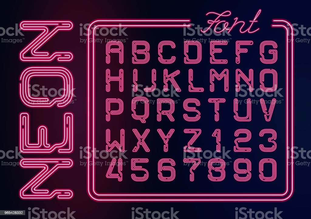 Realistic Neon red alphabet with neon numbers. Vector Neon typeset on dark background.  Glowing font for your design. realistic neon red alphabet with neon numbers vector neon typeset on dark background glowing font for your design - stockowe grafiki wektorowe i więcej obrazów abstrakcja royalty-free
