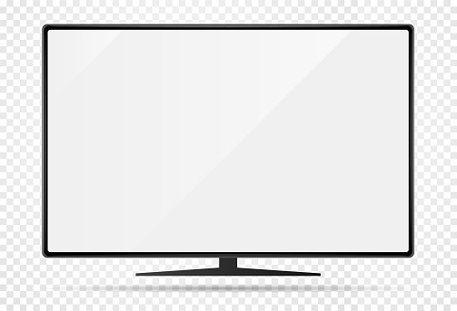 Realistic new modern TV monitor with blank screen. Isolated on transparent background. Can be a template for infographics or presentation of interface. Frame less monitor. Vector Illustration