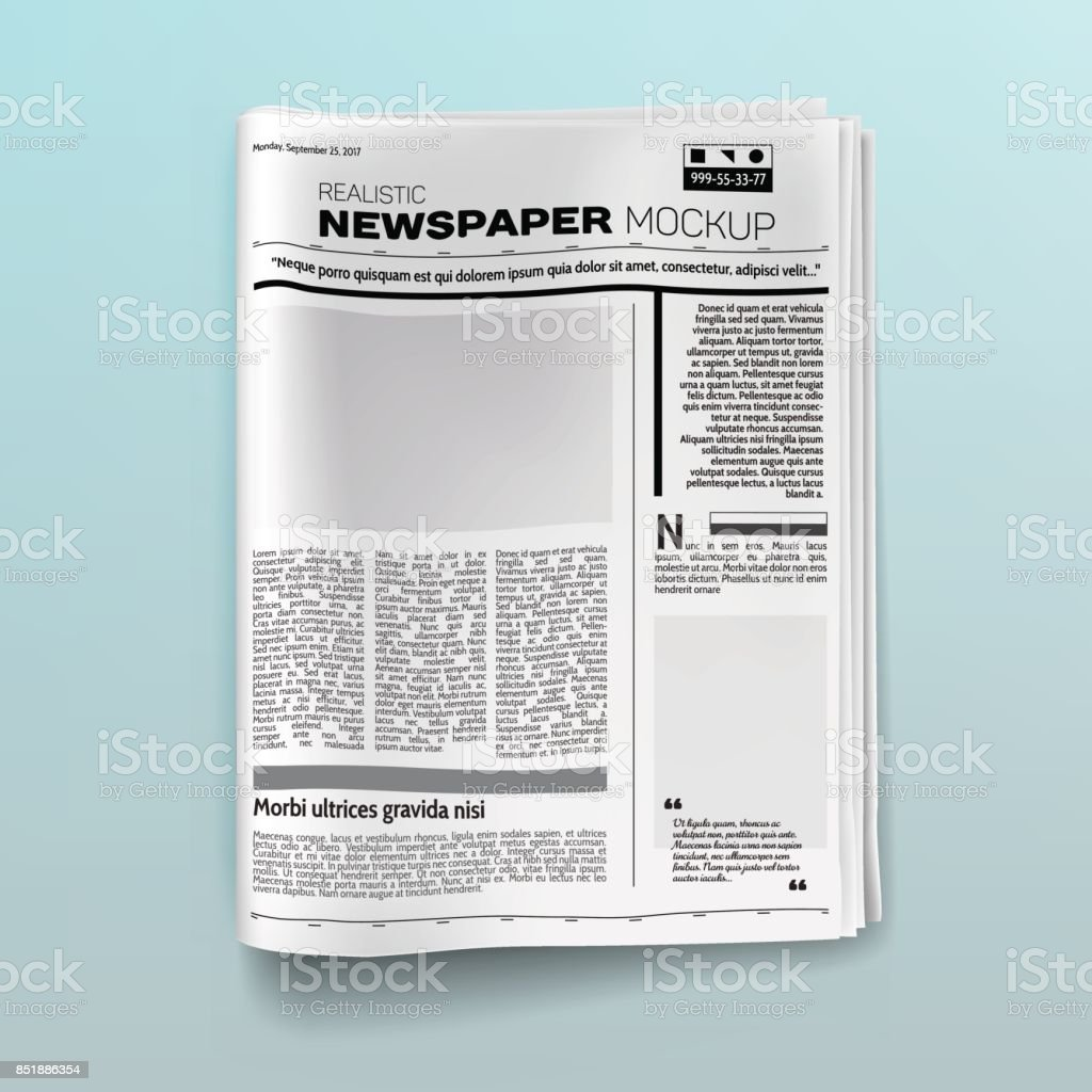 Realistic newspaper (magazine) mockup vector art illustration