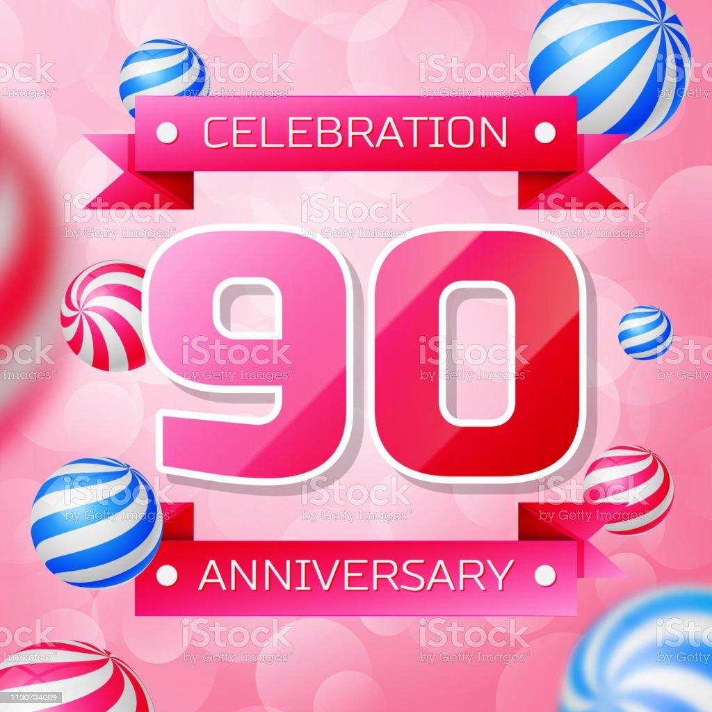 Realistisches Neunjährige Jubiläum feiert Design-Banner. Rosa Zahlen und rosa Bänder, Luftballons auf rosa Hintergrund. Bunte Vector-Schablonen für Ihre Geburtstagsfeier – Vektorgrafik