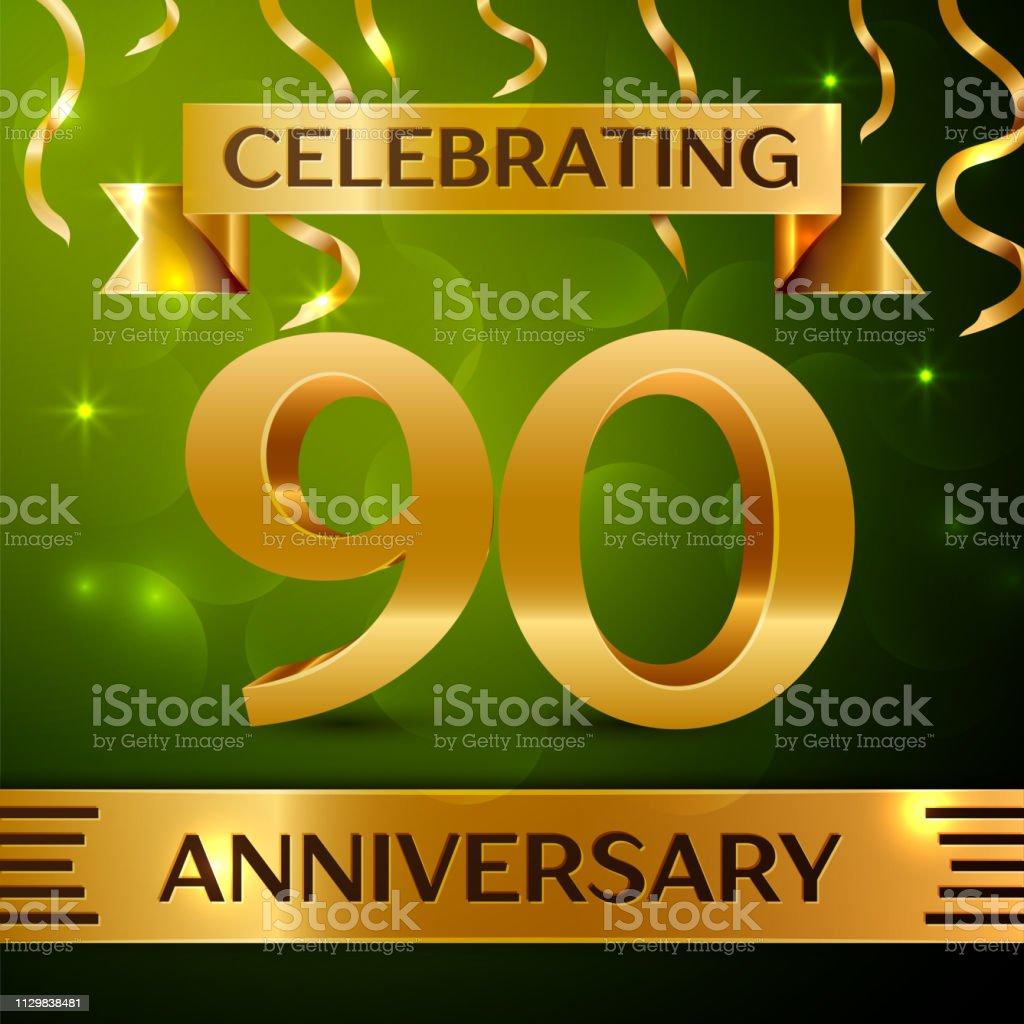 Realistische neunzig 90 Jahre Jubiläumsfeier Design. Gold Konfetti und Band auf grünem Hintergrund. Bunte Vektorelemente Vorlage für deine Geburtstagsparty – Vektorgrafik