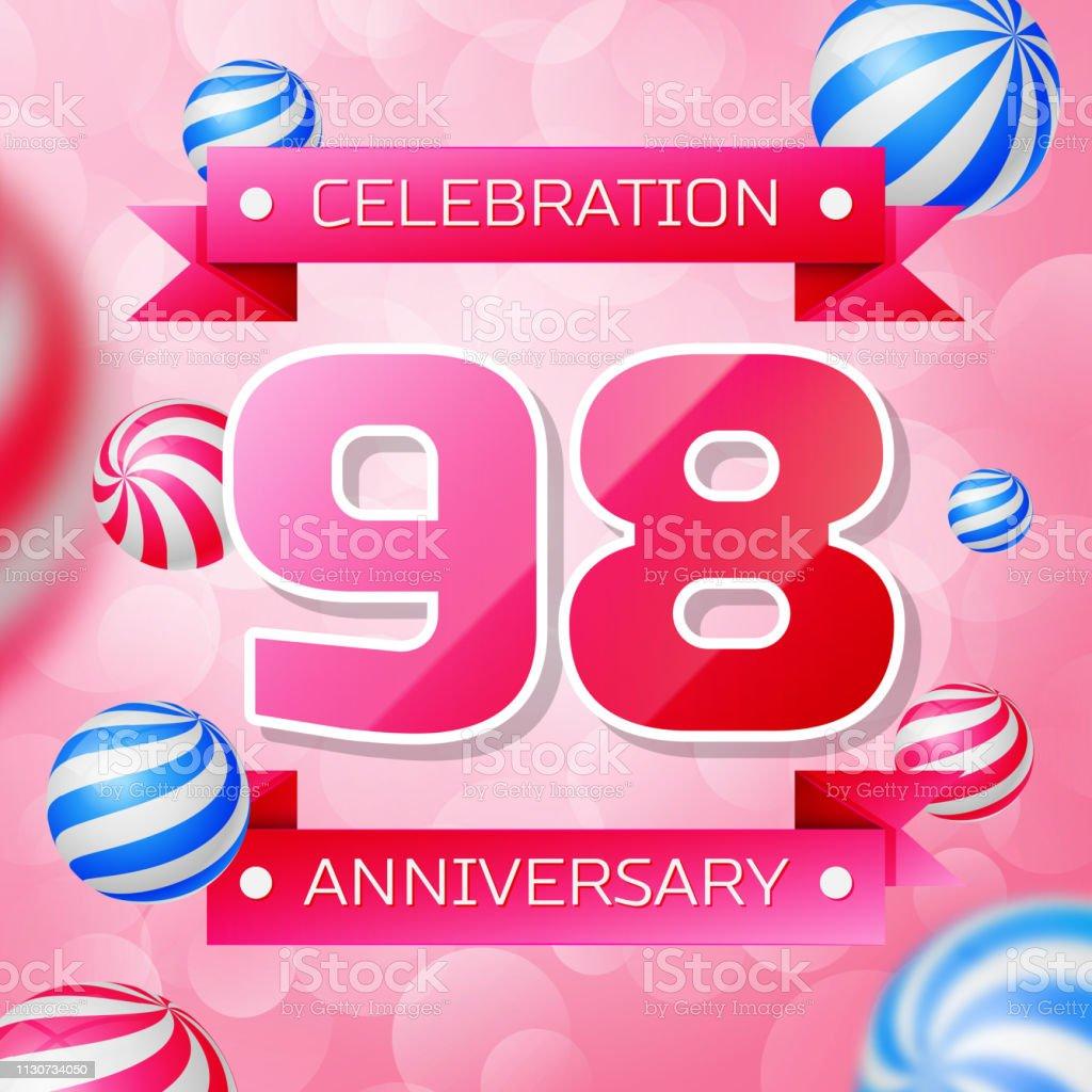 Realistisch neunzig 98 Jahre Jubiläumsfeier Design-Banner. Rosa Zahlen und rosa Bänder, Luftballons auf rosa Hintergrund. Bunte Vector-Schablonen für Ihre Geburtstagsfeier – Vektorgrafik