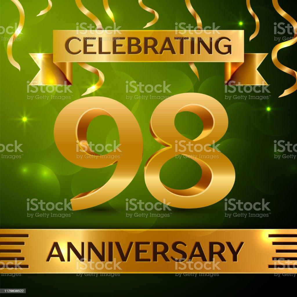 Realistische neunzig acht 98 Jahre Jubiläum Feier Design. Gold Konfetti und Band auf grünem Hintergrund. Bunte Vektorelemente Vorlage für deine Geburtstagsparty – Vektorgrafik
