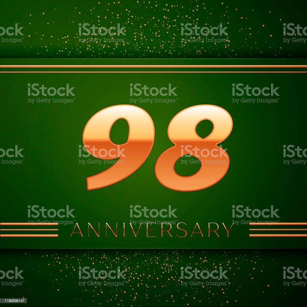 Realistische neunzig acht 98 Jahre Jubiläum Feier Logo. Goldene Zahlen und goldenen Konfetti auf grünem Hintergrund. Bunte Vektorelemente Vorlage für deine Geburtstagsparty – Vektorgrafik