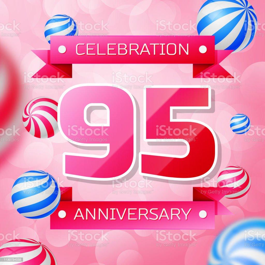 Realistisches Neunzigjähriges Jubiläum Feier Design-Banner. Rosa Zahlen und rosa Bänder, Luftballons auf rosa Hintergrund. Bunte Vector-Schablonen für Ihre Geburtstagsfeier – Vektorgrafik