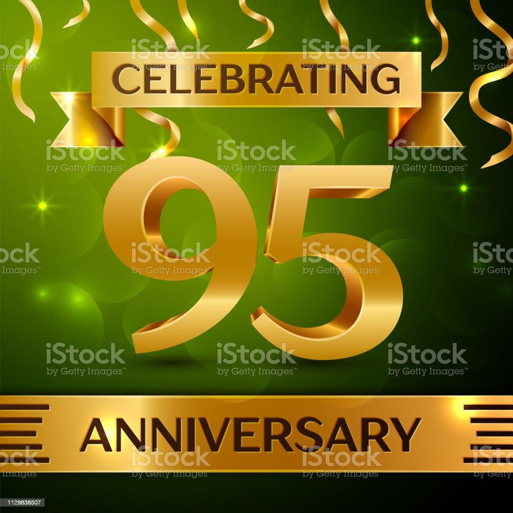 Realistische neunzig fünf 95 Jahre Jubiläum Feier Design. Gold Konfetti und Band auf grünem Hintergrund. Bunte Vektorelemente Vorlage für deine Geburtstagsparty – Vektorgrafik