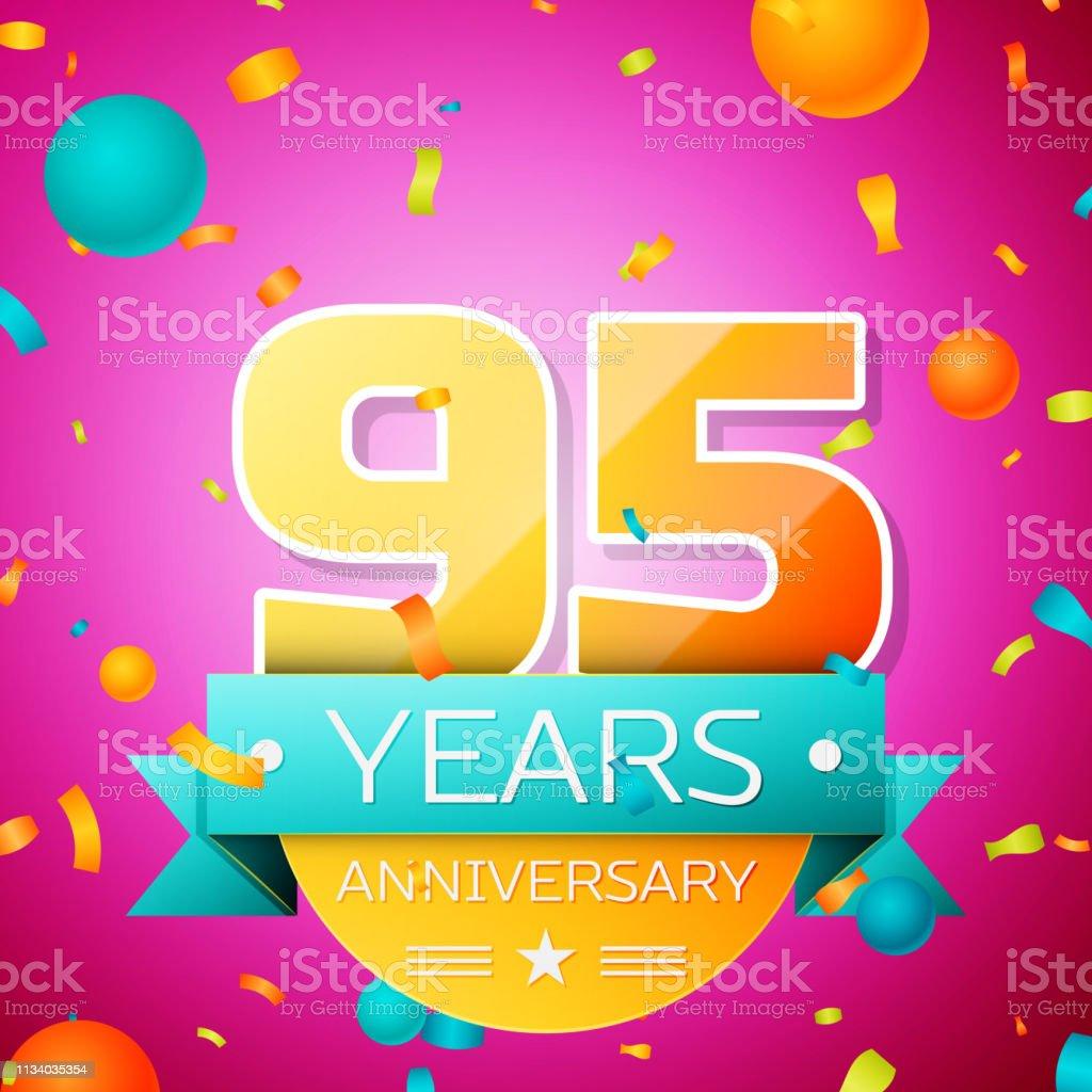 Realistisches Neunzigjähriges Jubiläum Feier Design-Banner. Goldnummern und Cyan-Band, Luftballons, Konfetti auf rosa Hintergrund. Bunte Vector-Schablonen für Ihre Geburtstagsfeier – Vektorgrafik