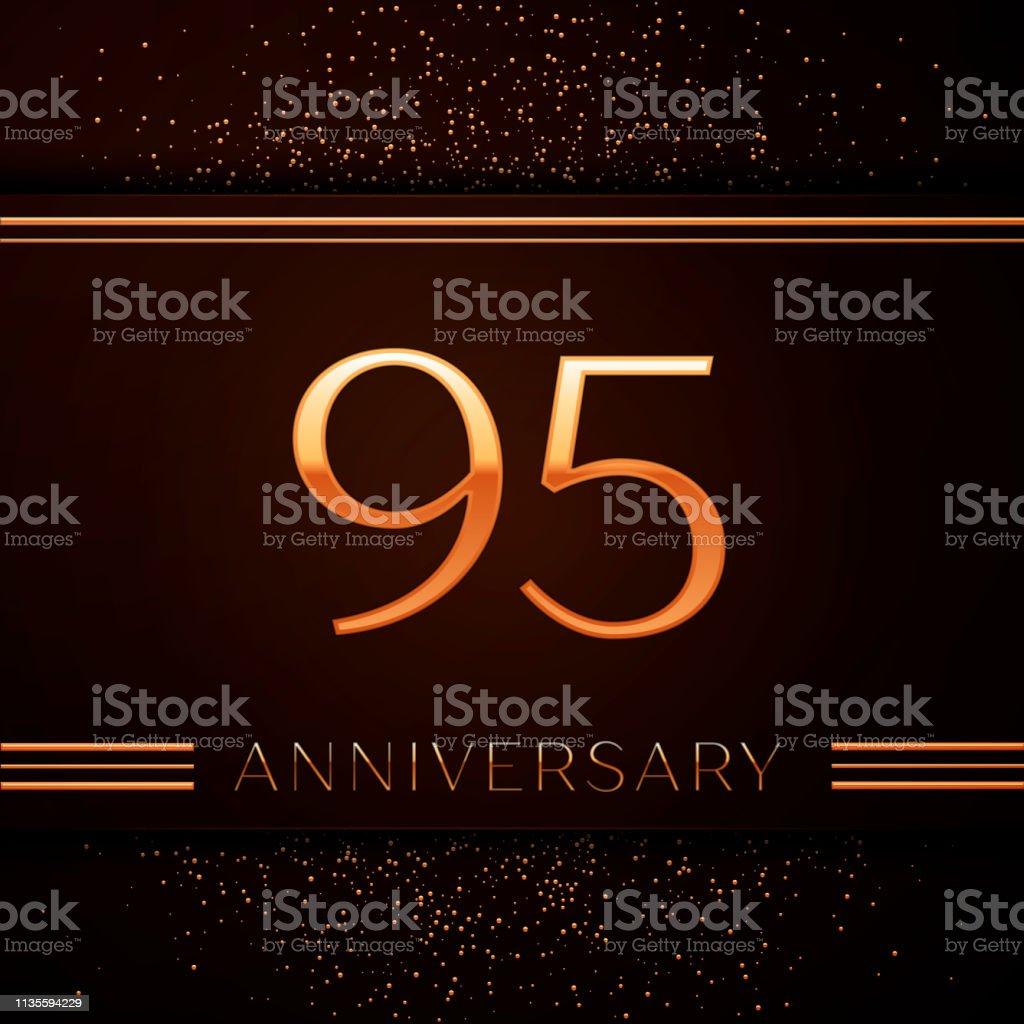 Realistic Neunzig fünf Jahre Jubiläumsfeier Logotype. Goldene Zahlen und goldenes Konfetti auf braunem Hintergrund. Bunte Vector-Schablonen für Ihre Geburtstagsfeier – Vektorgrafik
