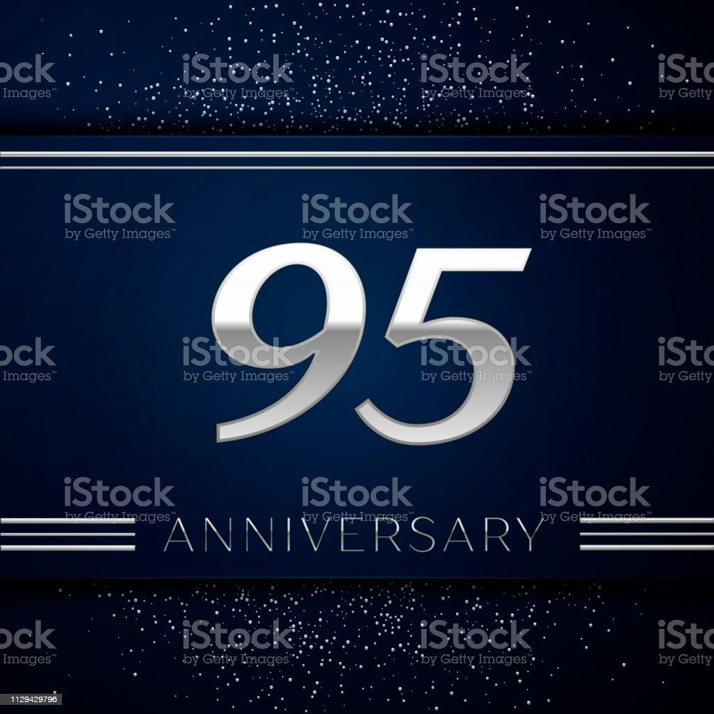 Realistische neunzig fünf Jahre Firmenjubiläum. Silberne Zahlen und Silber Konfetti auf blauem Hintergrund. Bunte Vektorelemente Vorlage für deine Geburtstagsparty – Vektorgrafik