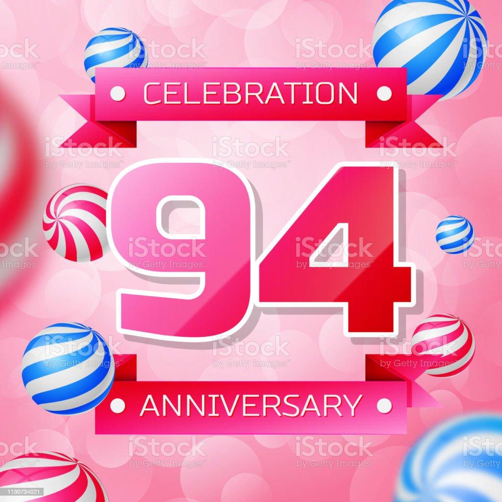 Realistic Ninety four 94 Years Anniversary Celebration design banner. Rosa Zahlen und rosa Bänder, Luftballons auf rosa Hintergrund. Bunte Vector-Schablonen für Ihre Geburtstagsfeier – Vektorgrafik