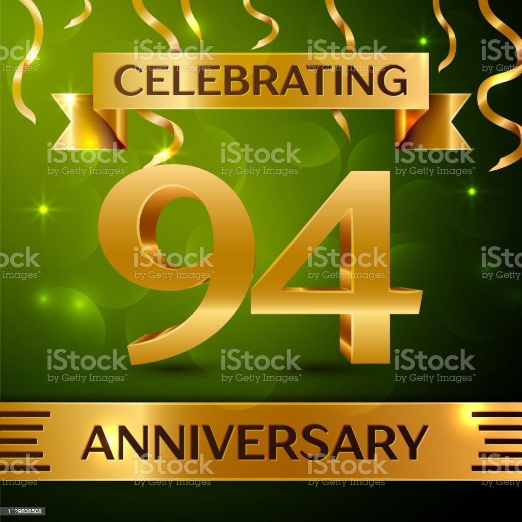 Realistische neunzig vier 94 Jahre Jubiläum Feier Design. Gold Konfetti und Band auf grünem Hintergrund. Bunte Vektorelemente Vorlage für deine Geburtstagsparty – Vektorgrafik