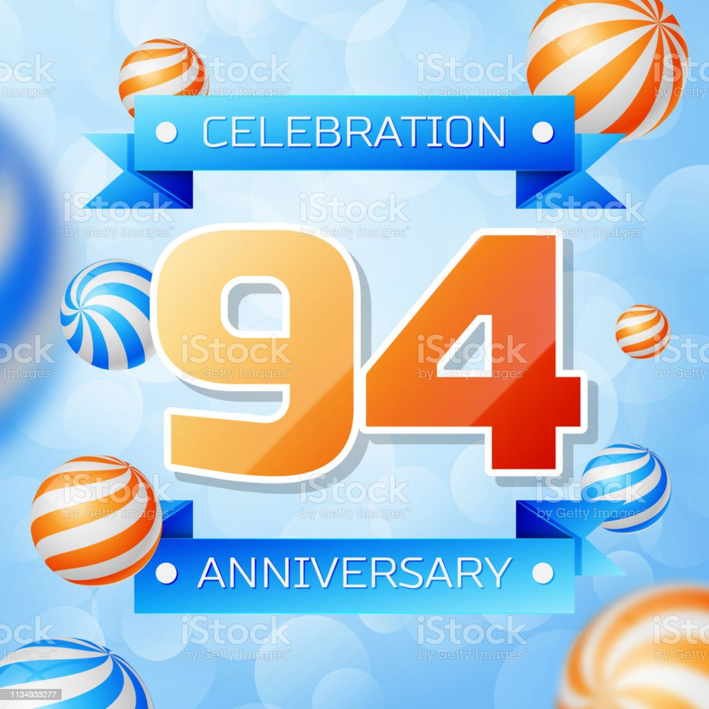 Realistic Ninety four Years Anniversary Celebration design banner. Goldnummern und blaue Bänder, Luftballons auf blauem Hintergrund. Bunte Vector-Schablonen für Ihre Geburtstagsfeier – Vektorgrafik