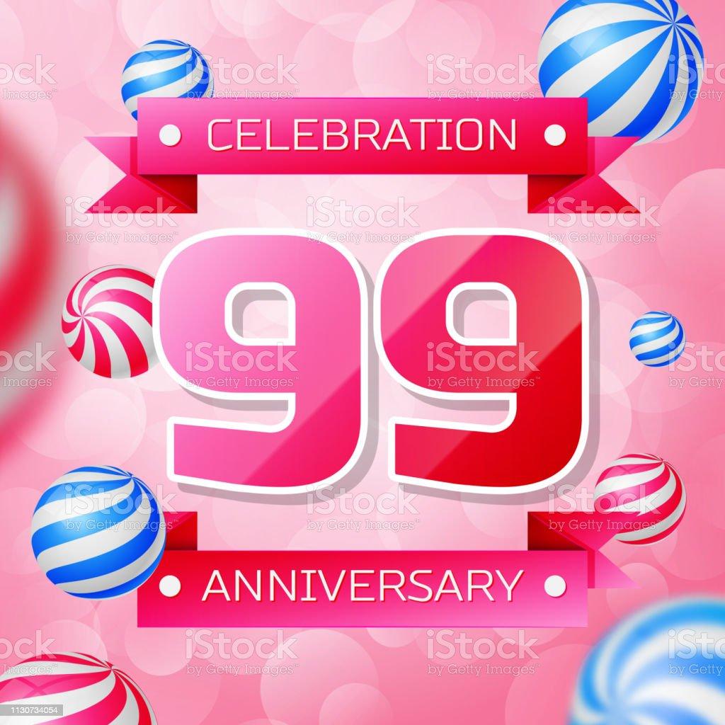 Realistisches Neunzigjähriges Jubiläum feiert Design-Banner. Rosa Zahlen und rosa Bänder, Luftballons auf rosa Hintergrund. Bunte Vector-Schablonen für Ihre Geburtstagsfeier – Vektorgrafik