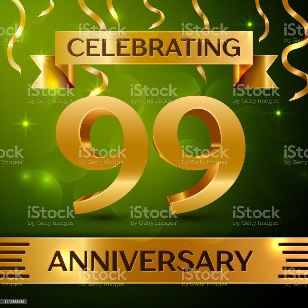 Realistische Ninety nine 99 Jahre Jubiläum Feier Design. Gold Konfetti und Band auf grünem Hintergrund. Bunte Vektorelemente Vorlage für deine Geburtstagsparty – Vektorgrafik