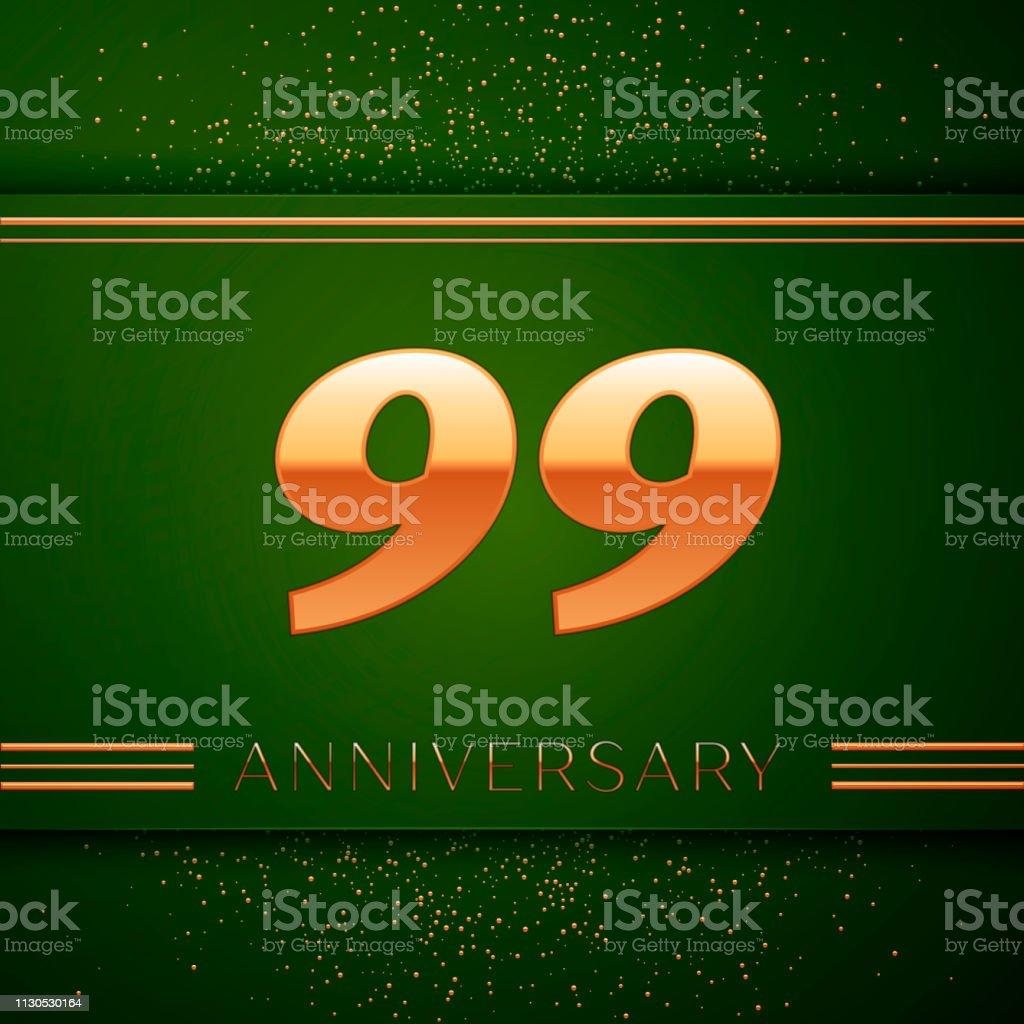 Realistische neunzig neun 99 Jahre Jubiläum Feier Logo. Goldene Zahlen und goldenen Konfetti auf grünem Hintergrund. Bunte Vektorelemente Vorlage für deine Geburtstagsparty – Vektorgrafik