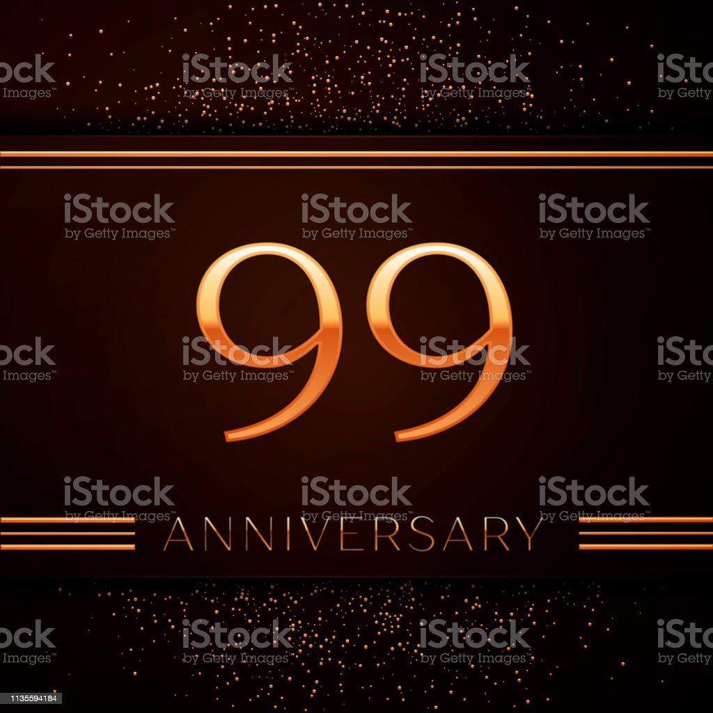 Realistischer neunjähriger Jubiläums-Logotyp. Goldene Zahlen und goldenes Konfetti auf braunem Hintergrund. Bunte Vector-Schablonen für Ihre Geburtstagsfeier – Vektorgrafik