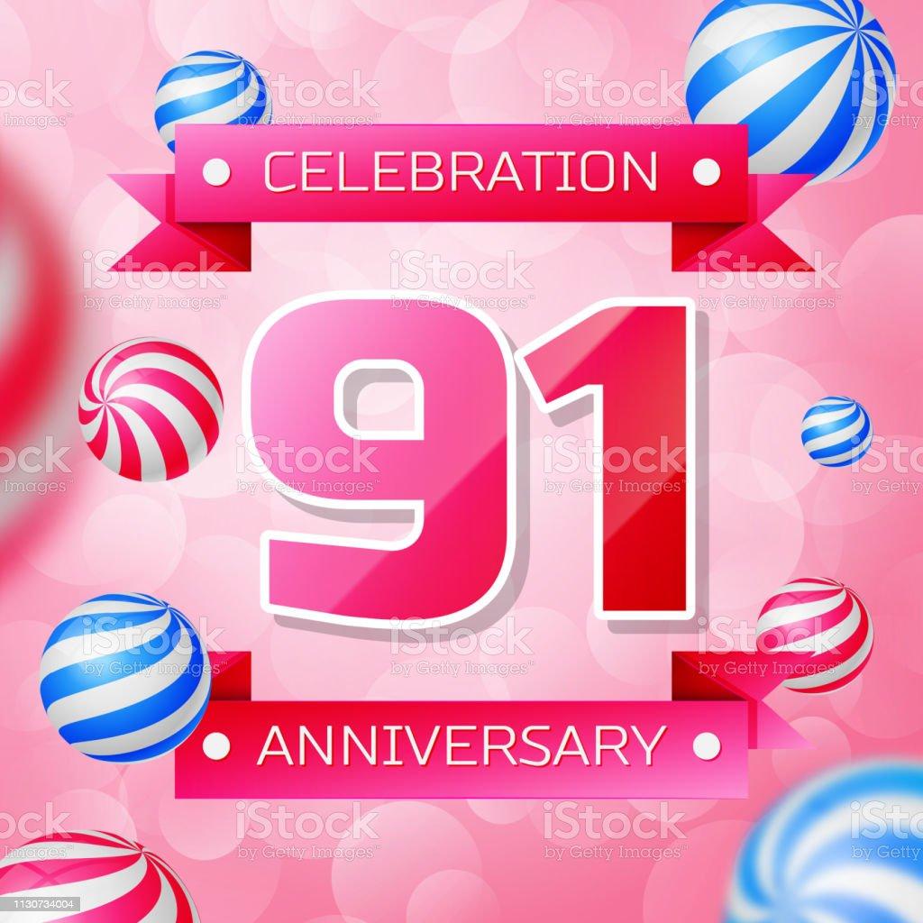Realistic Ninety one 91 Years Anniversary Celebration design banner. Rosa Zahlen und rosa Bänder, Luftballons auf rosa Hintergrund. Bunte Vector-Schablonen für Ihre Geburtstagsfeier – Vektorgrafik