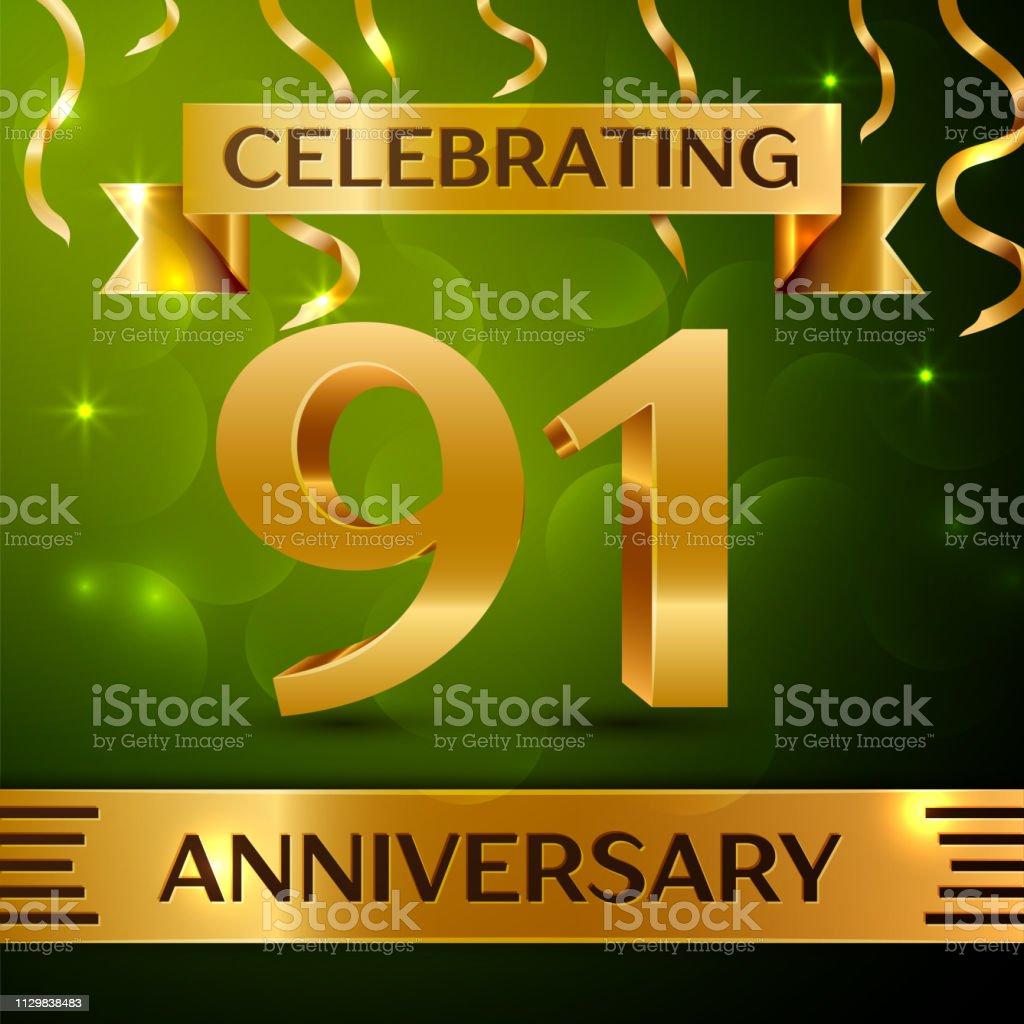 Realistische 90 91 Jahre Jubiläum Feier Einheitsklasse. Gold Konfetti und Band auf grünem Hintergrund. Bunte Vektorelemente Vorlage für deine Geburtstagsparty – Vektorgrafik