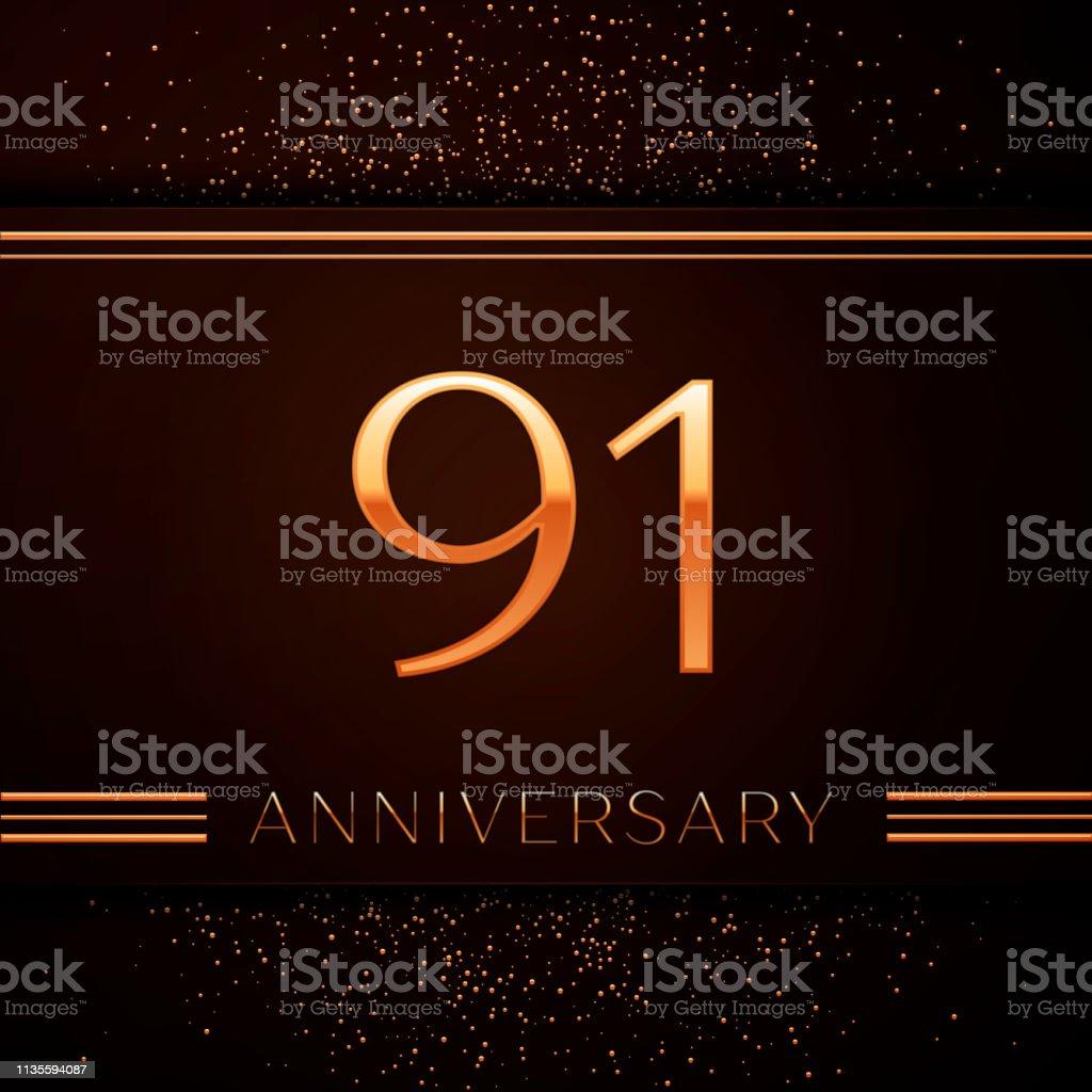 Realistic Ninety one Years Anniversary Celebration Logotype. Goldene Zahlen und goldenes Konfetti auf braunem Hintergrund. Bunte Vector-Schablonen für Ihre Geburtstagsfeier – Vektorgrafik