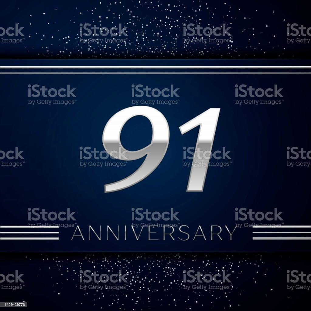 Realistische neunzig ein Jahre Firmenjubiläum. Silberne Zahlen und Silber Konfetti auf blauem Hintergrund. Bunte Vektorelemente Vorlage für deine Geburtstagsparty – Vektorgrafik