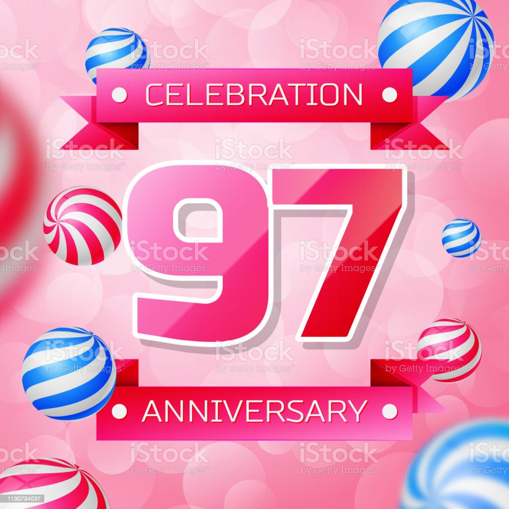 Realistic Ninety seven 97 Years Anniversary Celebration design banner. Rosa Zahlen und rosa Bänder, Luftballons auf rosa Hintergrund. Bunte Vector-Schablonen für Ihre Geburtstagsfeier – Vektorgrafik