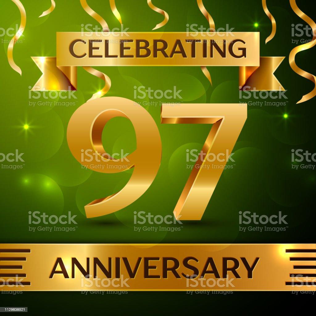 Realistische neunzig sieben 97 Jahre Jubiläum Feier Design. Gold Konfetti und Band auf grünem Hintergrund. Bunte Vektorelemente Vorlage für deine Geburtstagsparty – Vektorgrafik