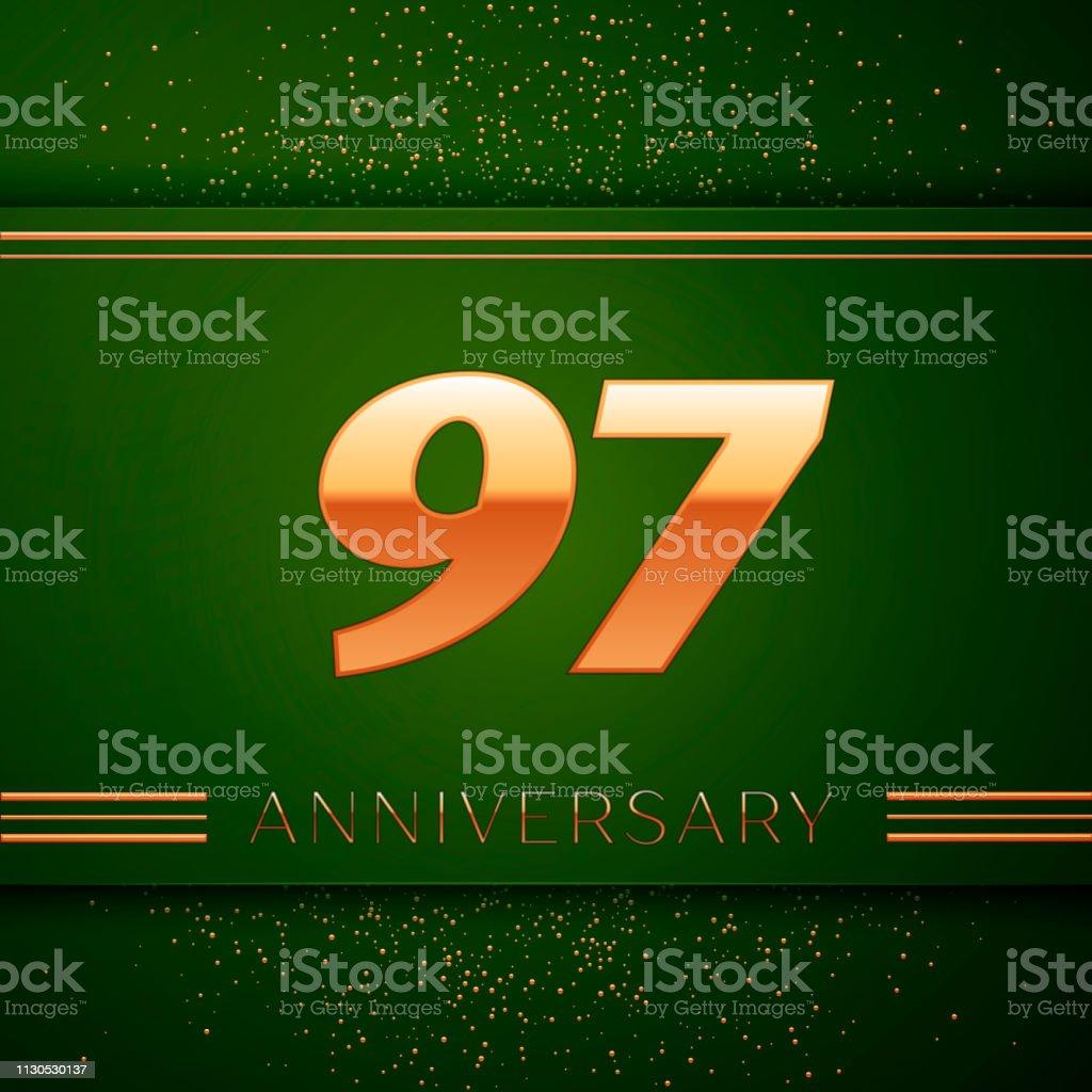 Realistische neunzig sieben 97 Jahre Jubiläum Feier Logo. Goldene Zahlen und goldenen Konfetti auf grünem Hintergrund. Bunte Vektorelemente Vorlage für deine Geburtstagsparty – Vektorgrafik